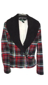 Lauren Ralph Lauren Tartan Plaid Faux Fur Collar TARTAIN Jacket