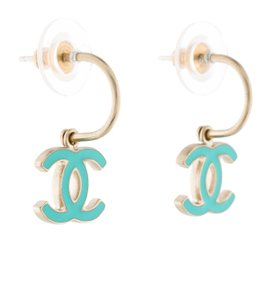 Chanel Gold-tone Chanel blue CC enamel drop earrings
