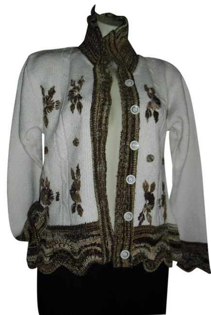 Preload https://img-static.tradesy.com/item/20091762/discovery-wihte-brown-vintagestyle-cardigan-handcrochet-embroidered-florals-sweaterpullover-size-10-0-1-650-650.jpg