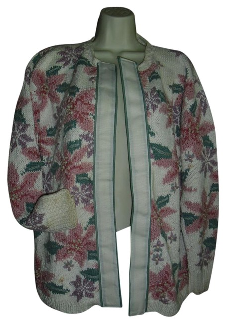 Preload https://img-static.tradesy.com/item/20091779/ivory-pink-green-vintage-style-sweater-floral-cardigan-size-14-l-0-1-650-650.jpg
