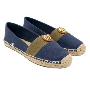 Tory Burch Beacher Espadrille Newport Navy/Olive/Tan Flats