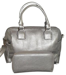 Other Barrel Cross Body Wallet Double Zip Satchel in silver