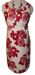 Ann Taylor short dress Red & White Floral Shift on Tradesy