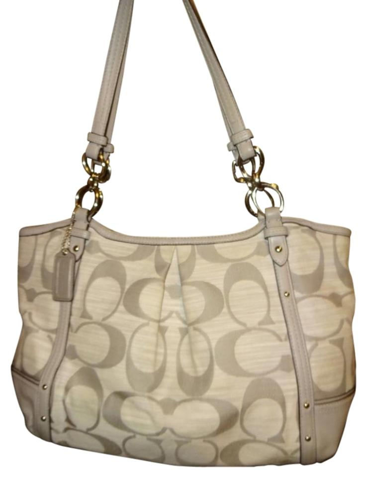 c849d477e4 Coach Alexandra ~ Signature Shantung Chain 21919 Light Gray Canvas ...