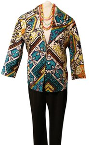 Chico's Bold Print Bohemian Plus-size Multi turquoise blue yellow black white Blazer