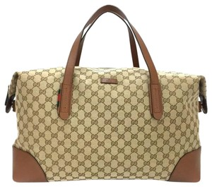 Gucci Leather Canvas Gg Brown Beige Travel Bag