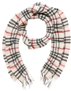 Burberry Creme, black, red Burberry cashmere scarf