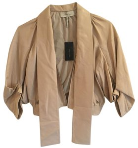 BCBGMAXAZRIA Pussy-bow Motorcycle Leather Zipper Beige Leather Jacket