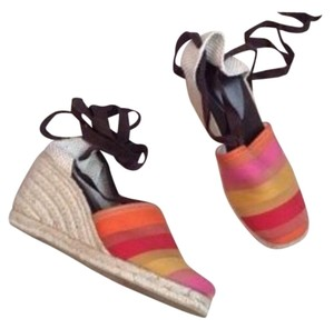 Joan & David Orange and pink Wedges