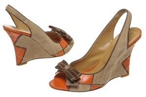 Valentino Orange Multicolor Wedges