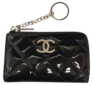 Chanel Black Patent Key Coin Card Holder Small Wallet