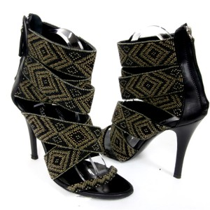 Balmain Womens Tribal Beaded Black Pumps