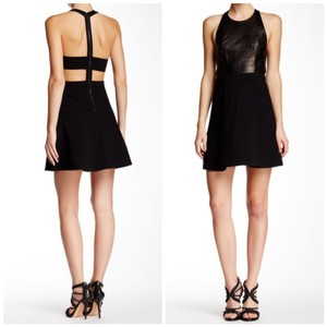 Alice + Olivia Leather Lbd Party Lambskin Backless Dress