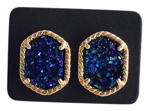 Titanium Druzy Blue Natural Stone Stud Earrings