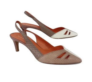 Via Spiga White Mauve Snakeskin Slingbacks Sandals