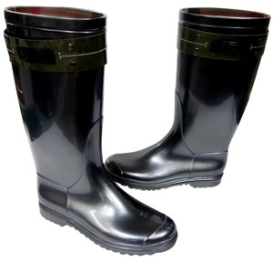 Burberry Rubber Equestrian Style Pull-on Style Adjustable Buckle Made In Italy Metallic Grey Boots