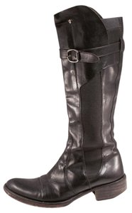 Kenneth Cole Pointed Toe Leather Knee High Black Boots