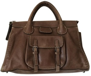 Chloé Leather Tan Sched Satchel In Brown