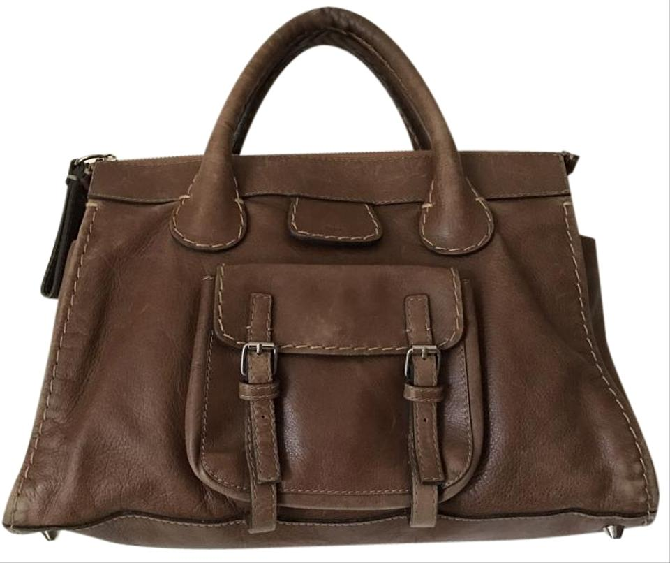 34ae8d47be4c Chloé Edith Leather Tan Stitched Brown Satchel - Tradesy