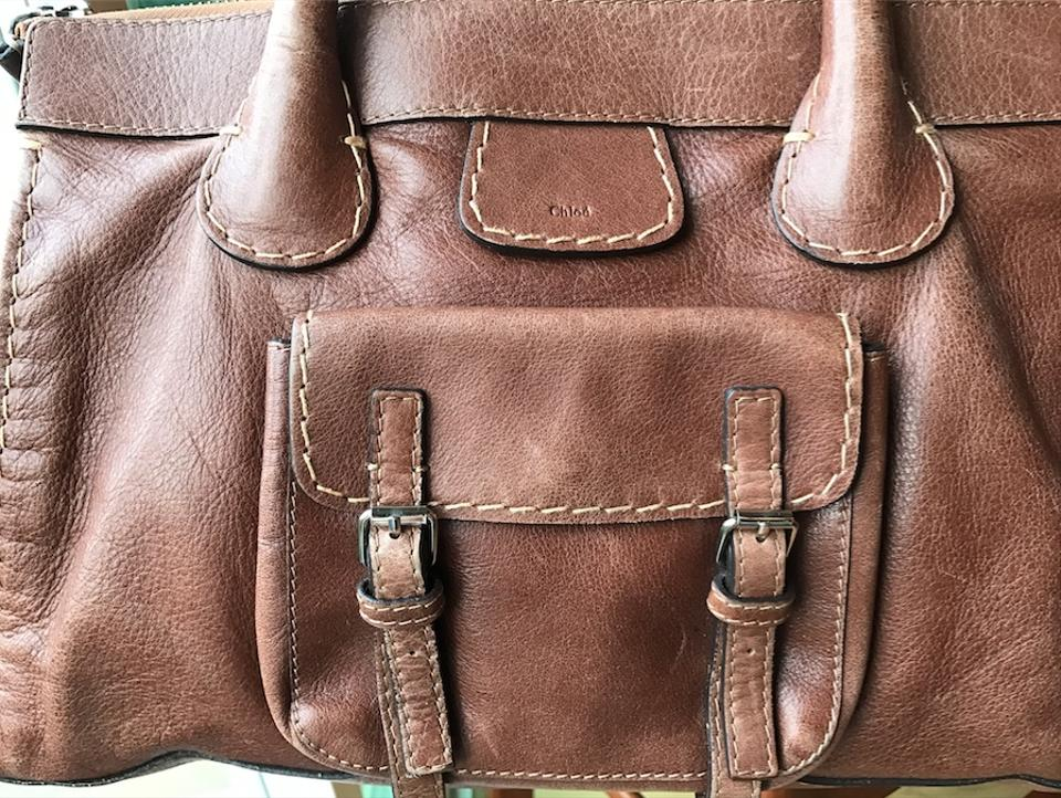 ef01fa0004fd Chloé Leather Tan Stitched Satchel in Brown Image 7. 12345678