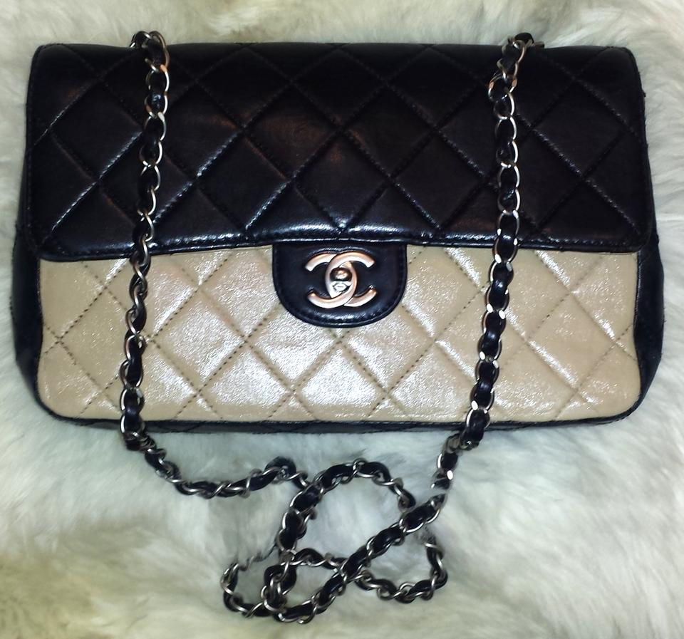 a579bc492d4b Chanel Classic Flap 2.55 Reissue L Two Tone Bi-color Quilted Medium Large  M/L Black Beige Lambskin Leather Shoulder Bag - Tradesy