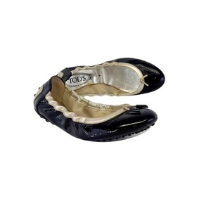 Tod's Black Gold Leather Ballet Flats