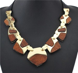 Other Wood Gold Statement Necklace