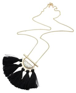 Other White Marble Black Tassel Statement Pendant Necklace