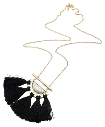 Other White Marble Black Tassel Statement Pendant Necklace Image 0