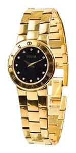 Gucci Gucci Gold Plated Stainless Steel Black Dial Diamond Accent 3300l Series Watch