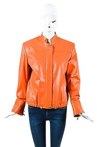 St. John Sport Orange Leather Ghw Gold,Orange,Gold-tone hardware Jacket