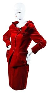 Thierry Mugler Buckle Shawl Jacket And Pencil Set Skirt Red,Silver