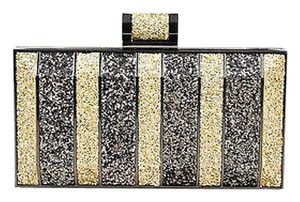 Halston Heritage Gunmetal Sequin Striped Box Gold Clutch