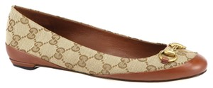Gucci Ballerina Logo Canvas Casual Leather Brown Flats