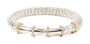 VAHAN Alwand Vahan Sterling Silver 14k Gold Bamboo Bar Bangle Bracelet