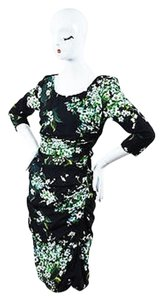 Dolce&Gabbana Black Green White Crepe Floral Ruched Dress
