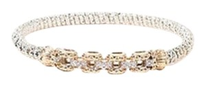 VAHAN Alwand Vahan Sterling Silver 14k Gold Diamond Link Bangle Bracelet