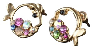 Other New Gold Tone Colorful Fish W/ Crystals Earrings J3020