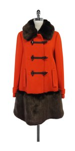Kate Spade Orange & Brown Allie Faux Fur Wool Coat