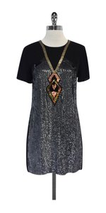 French Connection short dress Black Grey Sequin Shift on Tradesy