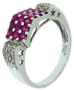 Other 18K White Gold Rubies Diamonds Ring