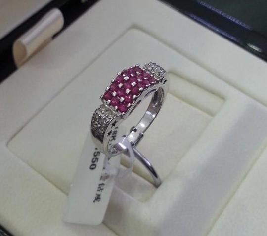 Other 18K White Gold Rubies Diamonds Ring Image 1