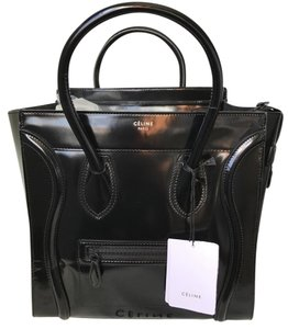 Céline Luggage Mini Luggage Luggage Tote in Spazzolato black patent Celine
