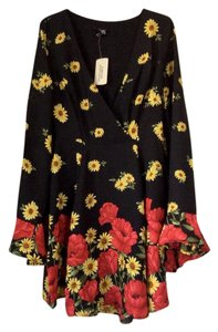 Forever 21 short dress Black with vibrant multicolored floral design on Tradesy