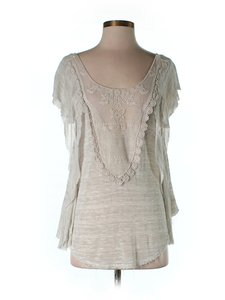 Free People Embroidered Ruffle Scoop Back Oversized Top Beige