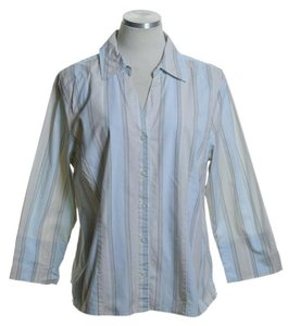 Croft & Barrow Button Down Shirt Blue Beige