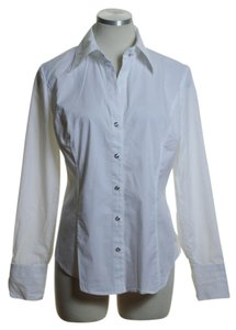 New York & Company Button Down Shirt White