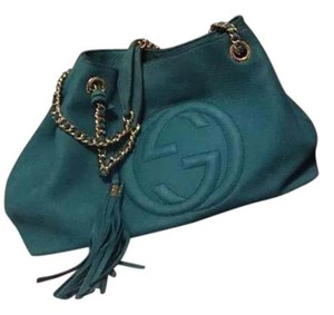Gucci Soho Nubuck Leather Tote Medium Tote in Turquoise Blue