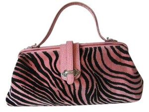 Raviani Leather Velour Crocodile Satchel in Pink