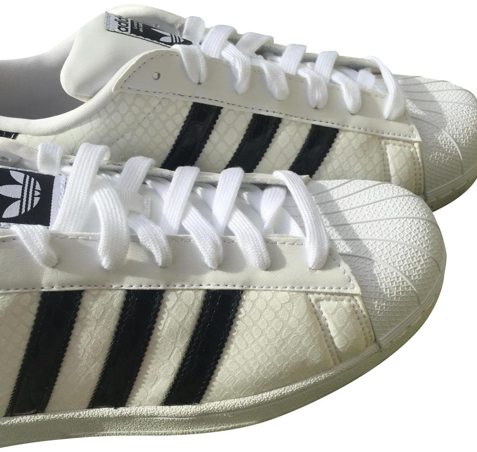 adidas White Black Men Monochromatic Superstar Sneaker Gridded Leather  Sneakers. Size  US 11 Regular (M ... 9a463f2ae